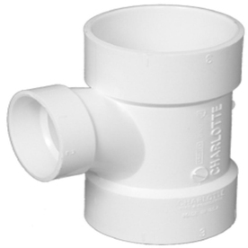 Charlotte Pipe 4-in x 4-in x 2-in dia PVC Sanitary Tee Fitting